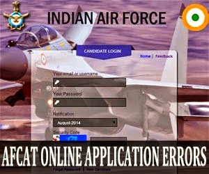 AFCAT 1 2015 online application errors and solutions
