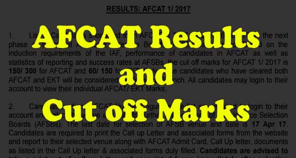 AFCAT 1 2017 Results and Cut off marks