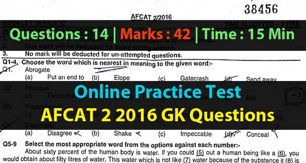 Online Practice Test - AFCAT 2 2016 General Knowledge Question Paper