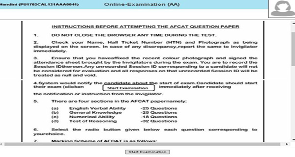 AFCAT exam instructions page