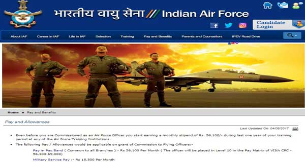 IAF has updated information about officers salary