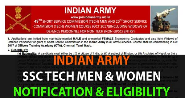 Indian Army SSC Tech Notification and Eligibility Criteria