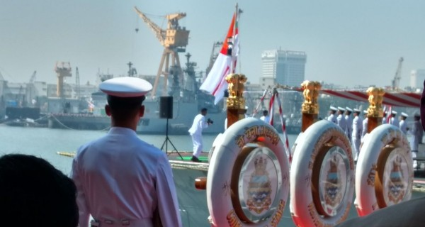 Navy officer watches as INS Chennai gets ready to get inducted