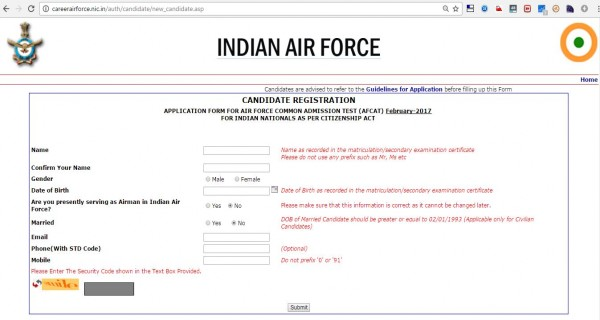 New candidate Registration Page of online AFCAT application