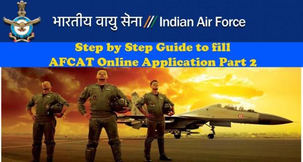 Online AFCAT application filling up guide part 2
