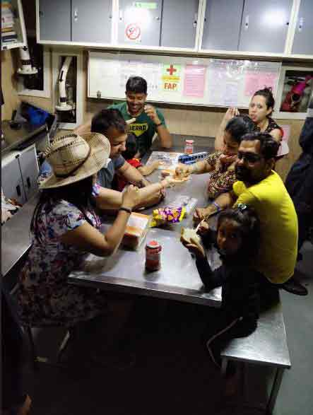 Rescued Passengers Having Refreshments in Indian Navy Ships