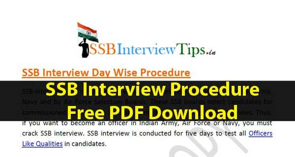 SSB Interview Procedure Download Free PDF