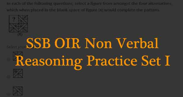 SSB intelligence Test Non Verbal Reasoning Practice Set