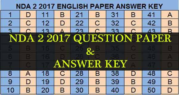 NDA 2 2017 exam question paper and answers