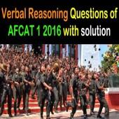 AFCAT 1 2016 Verbal Reasoning Question Paper Set